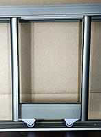 3 двери. Раздвижная система дверей шкафа купе. Шампань