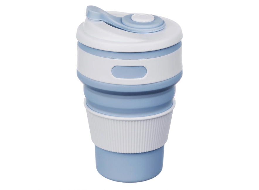 Складная силиконовая чашка Collapsible 350 мл (голубой)
