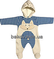 Детский тёплый человечек с начёсом рост 56 (0-2 мес.) махра голубой на мальчика (слип) с капюшоном для новорожденных Г-117