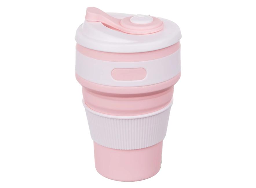 Складная силиконовая чашка Collapsible 350 мл (розовый)
