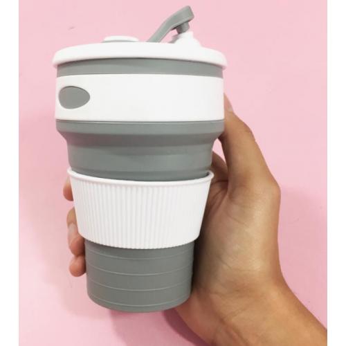 Складная силиконовая чашка Collapsible 350 мл (серый)