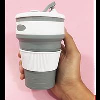 Складная силиконовая чашка Collapsible 350 мл (серый), фото 1