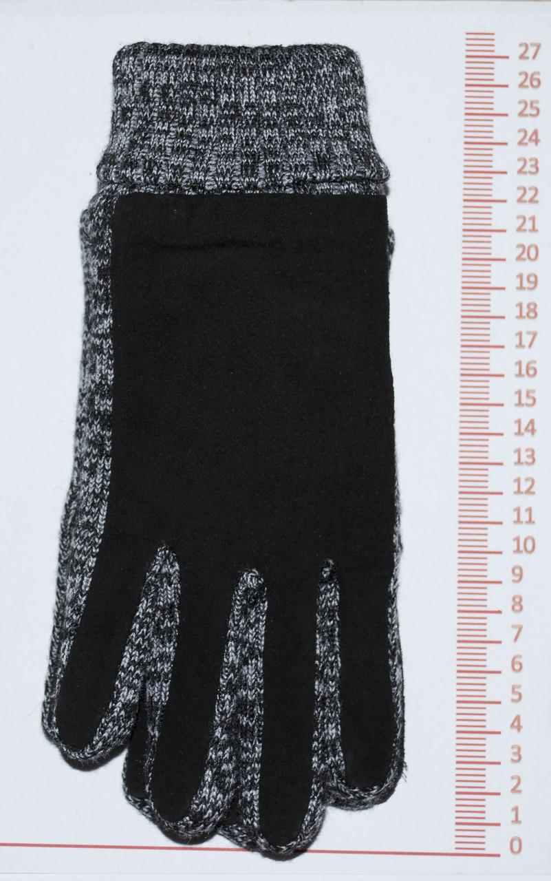 Мужские замшево-трикотажные перчатки - Серые - MZ1