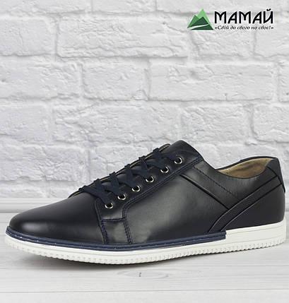 Шкіряні чоловічі кросівки з білою підошвою 43р, фото 2