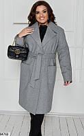 Пальто женское весна-осень кашемир на подкладке больших размеров 48-62 батал,цвет серый