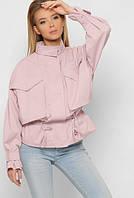 Женская короткая и легкая куртка ветровка пудрового цвета