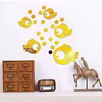 """Акриловые наклейка в ванную, на стены """"зеркальные золотые круглые рыбки 5шт набор"""""""