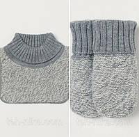 Манишка и варежки  серые H&M р.4мес-3года, фото 1