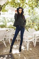 Стильная женская куртка короткая с капюшоном рукав длинный на молнии плащевка на синтепоне 200
