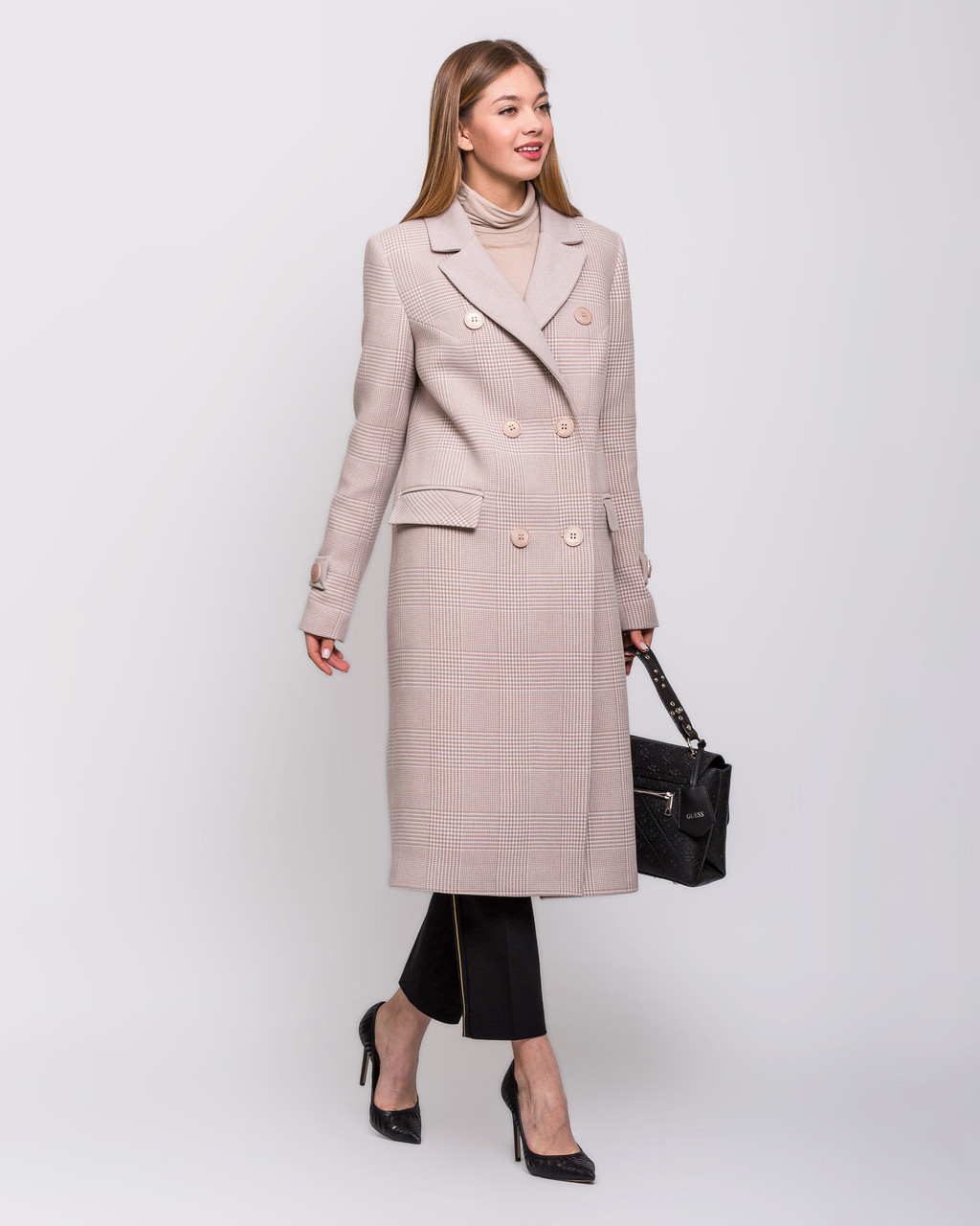 Модное пальтос в клетку 44 по 54 размер  весна 2020