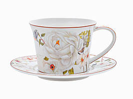 Чашка с блюдцем, чайная пара Райский сад 220 мл 924-549