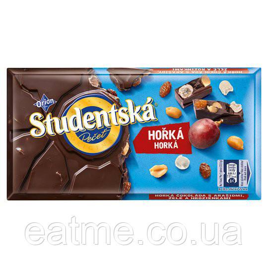 Studentska Чёрный шоколад с изюмом, арахисом и мармеладом