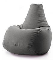 Кресло мешок груша микро-рогожка 90*130 см Серый