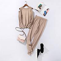 Костюм женский трикотажный  двойка  кофта и штаны весенний, бежевый  M\L