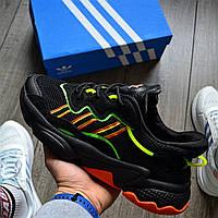 Мужские кроссовки Adidas Ozweego 'Black Yellow' рефлективные 41-45р. Живое фото. Реплика