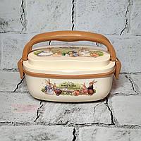 Ланчбокс Зайчики кролики, ланч бокс, контейнер для еды с ручками, коричневый