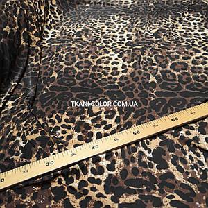Микромасло трикотаж принт леопард, ширина 170см