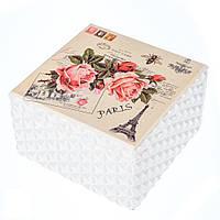 Шкатулка деревянная с зеркалом для ювелирных украшений и бижутерии Розы Париж 16*15.5*9.5 см.