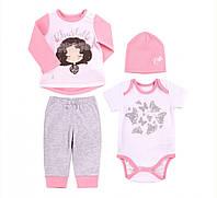 Комплект для девочки, розовый, интерлок, КП205, ТМ Бемби