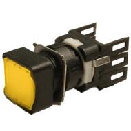 Кнопка нажимная квадратная d16мм (1НО) жёлтая