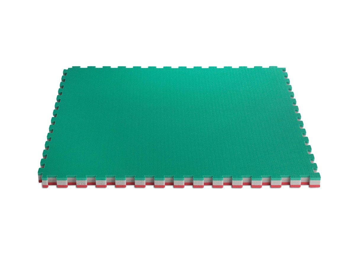 "Мат-татами ""ласточкин хвост"" by Trocellen Multisport Performance крас/зел. (1м х 1м толщина - 50 мм)"