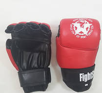 Рукавички для боїв без правил шкіряні ЛЕВ M1-M(Rd) розмір M червоні