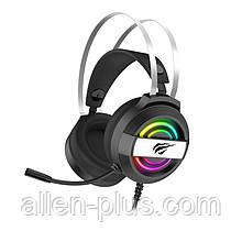 Наушники игровые с микрофоном и подсветкой HAVIT HV-H2026D GAMING, регулятор громкости, black
