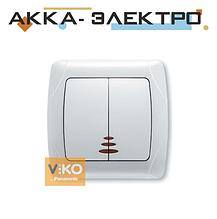 Вимикач 2-кл. з підсвіткою білий ViKO Carmen 90561050