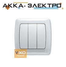 Вимикач 3-кл. білий ViKO Carmen 90561068