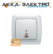 Вимикач 1-кл. прохідний з підсвіткою білий ViKO Carmen 90561063