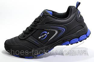 Кожаные мужские кроссовки Bona, Black/Blue (Бона)