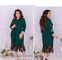 / Размер 50,52,54,56,58,60 / Женское экстравагантное платье-рубашка большого размера / 8625-Морская-Волна