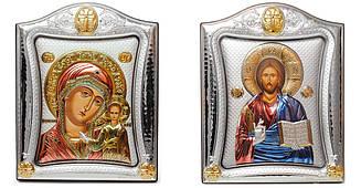 Венчальная пара 20х25см. Свадебных икон Казанская Богородица и Спаситель Иисус (под стеклом)