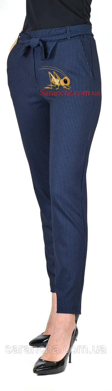 Штани жіночі класичні сині в дрібну смужку розмір 48-50