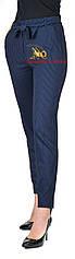 Брюки лосины синие классические в мелкую полоску размеры от 42 до 50