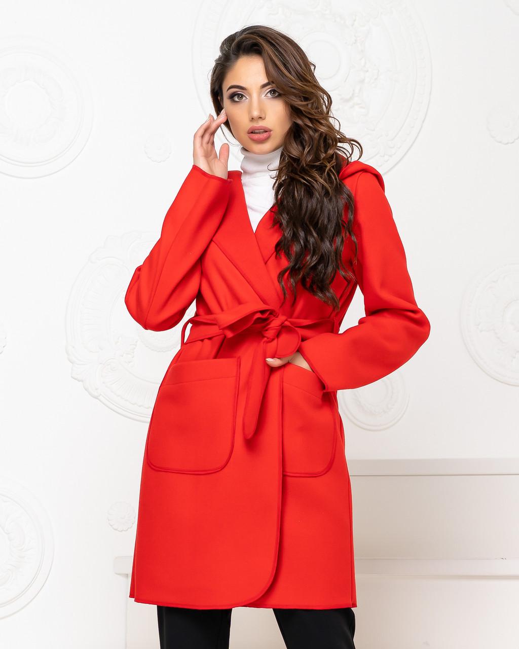 Пальто з капюшоном і поясом NOBILITAS 42 - 48 червоне кашемір (арт. 20011)
