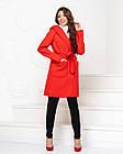 Пальто з капюшоном і поясом NOBILITAS 42 - 48 червоне кашемір (арт. 20011), фото 2