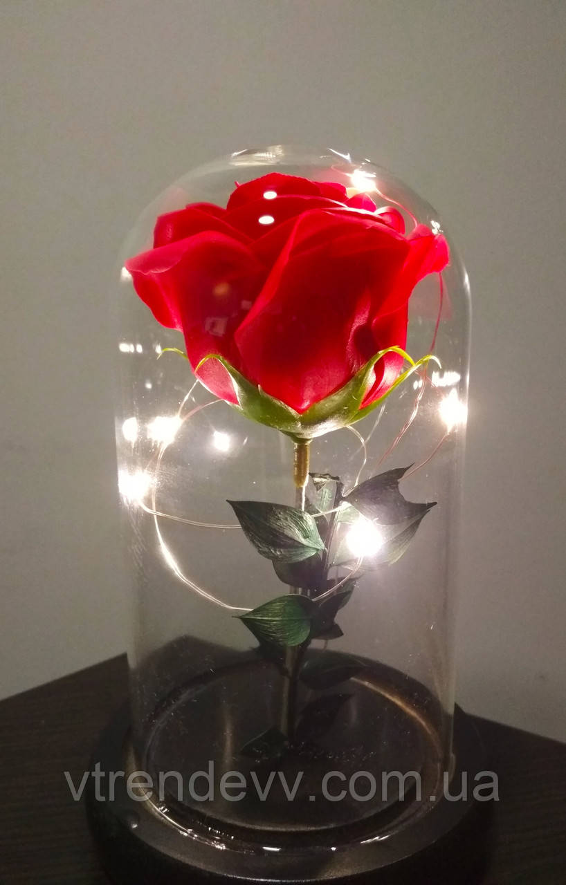 Подарочная роза в колбе с LED подсветкой