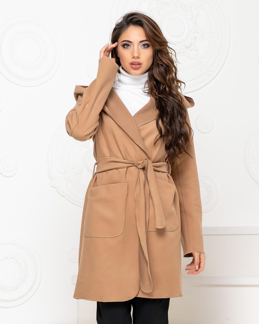 Пальто з капюшоном і поясом NOBILITAS 42 - 48 коричневе кашемір (арт. 20011)