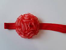 Детская повязка красная - размер универсальный (на резинке), цветок 7см