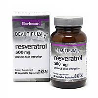 Ресвератрол 500 мг, Beautiful Ally, Bluebonnet Nutrition, Resveratrol 500 мg, 30 растительных капсул