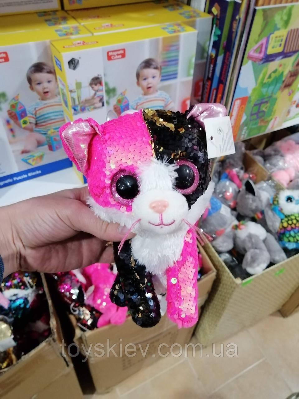 Мягкая игрушка Котик с пайетками 20см.