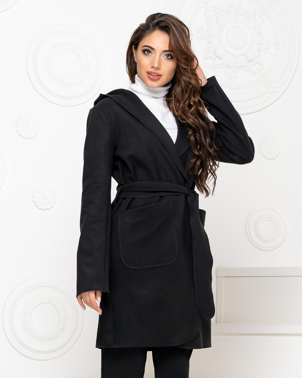 Пальто з капюшоном і поясом NOBILITAS 42 - 48 чорне кашемір (арт. 20011)