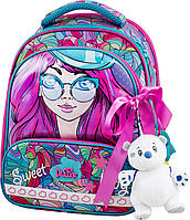 Рюкзак школьный ортопедический каркасный для девочки Delune 9-122 мишка сумка для обуви пенал 28 х16 х36 см, фото 1
