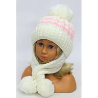 """Красивые детские шапочки для девочек оптом """"Мелисса"""" (флис) р.48-52 см (малина, молоко, розовый, серый)"""