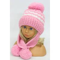 """Красивые детские шапочки для девочек оптом """"Мелисса"""" (флис) р.48-52 см (малина, розовый)"""