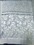 Палантин белого цвета из жаккардового шёлка, фото 4