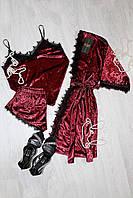 Бордовый велюровый комплект тройка с французским кружевом, молодежная женская одежда для дома и сна р.46