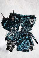 Изумрудный велюровый комплект тройка с французским кружевом, молодежная женская одежда для дома и сна р.44