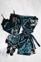 Изумрудный велюровый комплект тройка с французским кружевом, молодежная женская одежда для дома и сна р.46